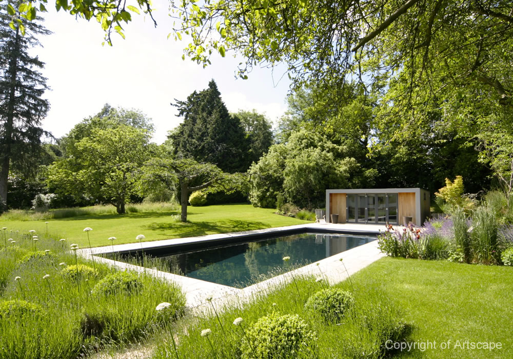 Garden design with contemporary swimming pool for Pool garden plans