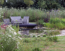 large garden with water feature